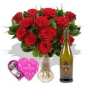 A dozen red roses with Prosecco