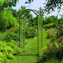Elegant wooden garden arch in green finish