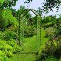 Elegant wooden garden arch in green finish